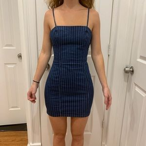 Navy blue with small white pinstripes dress